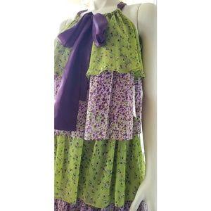 Allen B Schwartz Layered Colorful Dress, S.